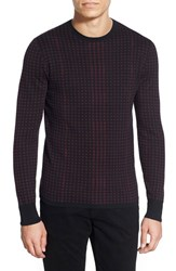 Men's Hugo 'Shainor' Trim Fit Cotton Silk And Cashmere Houndstooth Crewneck Sweater
