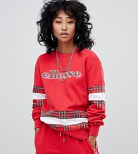 Ellesse Relaxed Sweatshirt With Logo Front And Check Panels Co Ord Red