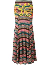 Missoni Long Patchwork Skirt Pink And Purple