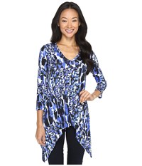 Karen Kane 3 4 Sleeve Handkerchief Tunic Bright Blue Women's Blouse