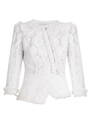 Andrew Gn Asymmetric Broderie Anglaise Cotton Jacket White