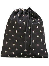 Attico Embroidered Flower Pouch Black