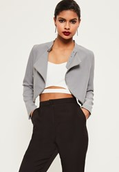 Missguided Grey Zip Detail Buckle Neck Cropped Jacket
