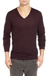 John Varvatos Men's Star Usa Long Sleeve V Neck T Shirt Port