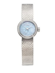 Christian Dior La D De Diamond Mother Of Pearl And Stainless Steel Bracelet Watch Blue