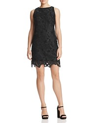 Three Dots Abstract Netted Lace Shift Dress Black