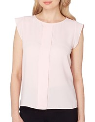 Tahari By Arthur S. Levine Pleated Front Georgette Top Blush Pink