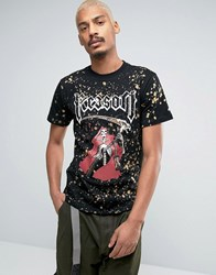 Reason T Shirt With Skeleton Print And Bleach Splat Black