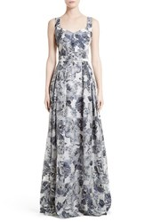 St. John Women's Collection Metallic Floral Fil Coupe Gown