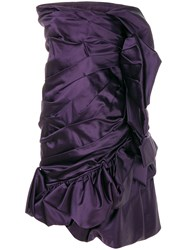 Christian Lacroix Vintage Draped Strapless Cocktail Dress Pink And Purple