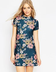 Asos High Neck Mini Dress In Textured Floral Print Multi