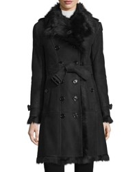 Burberry Trench Style Shearling Coat Black