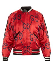 Guccighost Print Satin Bomber Jacket Red Multi
