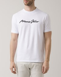 Armani Jeans Navy Blue And White Signature Crew Neck T Shirt