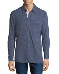 Faherty Luxe Heather Long Sleeve Polo Shirt Navy