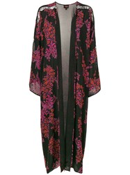 Giambattista Valli Floral Pattern Robe Coat Black