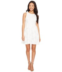 Tahari By Arthur S. Levine Petite Leather And Lace Textured A Line Dress White Women's Dress