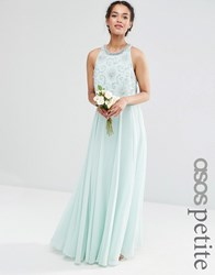 Asos Petite Wedding Bridesmaids Embellished Crop Top Maxi Mint Green