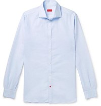 Isaia Slim Fit Cutaway Collar Pinstriped Linen And Cotton Blend Shirt Blue