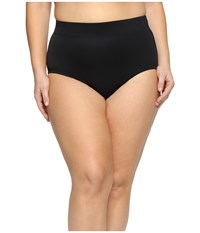 Miraclesuit Plus Size Solid Basic Brief Bottom Black Women's Swimwear