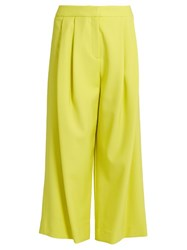 Adam By Adam Lippes Pleated Front Wide Leg Cropped Trousers Yellow