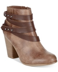 Material Girl Mini Strapped Booties Only At Macy's Women's Shoes Dark Taupe