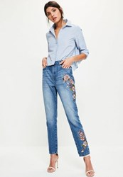 Missguided Blue High Rise Floral Jeans