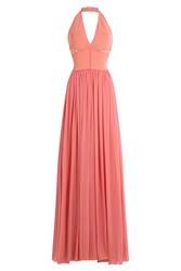 Elie Saab Floor Length Halter Dress With Lace Pink