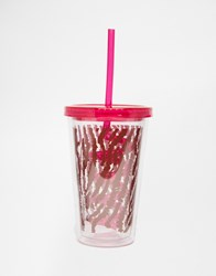 Paperchase Wild At Heart Tiger Print Cup With Straw Multi