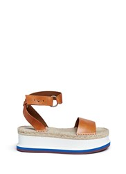Stella Mccartney Ankle Strap Raffia Wedge Sandals Brown