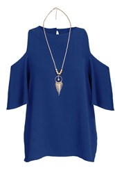 Quiz Blue Cold Shoulder Necklace Top
