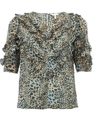 Rebecca Taylor Ruffled Silk Blend Top Leopard