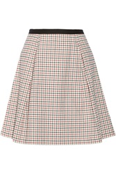 Band Of Outsiders Windowpane Checked Stretch Cotton Skirt White