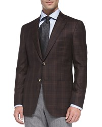 Isaia Plaid Two Button Jacket Burgundy Red