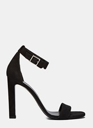 Saint Laurent Grace Suede Single Strap Heeled Sandals Black