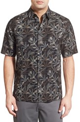 Men's Toscano 'Leaf Print' Regular Fit Silk Blend Sport Shirt
