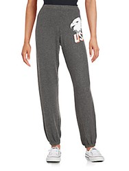 Wildfox Couture Graphic Printed Jogger Pants Dirty Black