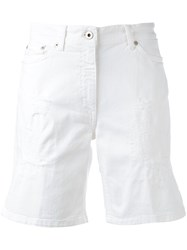 Dondup Ripped Chino Shorts Women Cotton Spandex Elastane 32 White