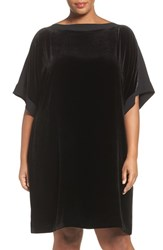 Eileen Fisher Plus Size Women's Silk Trim Velvet Bateau Neck Shift Dress