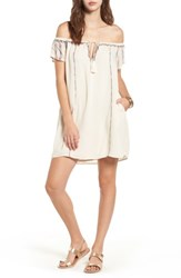 Lush Women's Embroidered Off The Shoulder Dress Vintage Cream