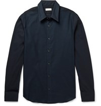Dries Van Noten Slim Fit Mesh And Cotton Poplin Shirt Navy