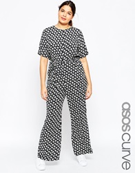 Asos Curve Wide Leg Jumpsuit With Belt In Mono Print