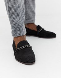 House Of Hounds Cerberus Chain Loafers In Black Suede