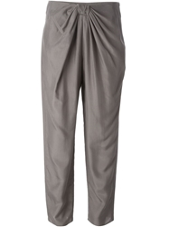 Emporio Armani Draped Front Cropped Trousers Grey