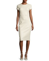 The Row Bocilla Leather Cap Sleeve Dress Cream