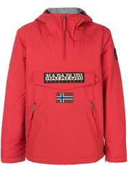 Napapijri Logo Patch Pull Over Jacket Polyamide Polyester L Red