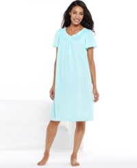 Miss Elaine Short Sleeve Embroidered Nightgown Seafoam