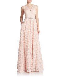Adrianna Papell Rosette Gown Blush