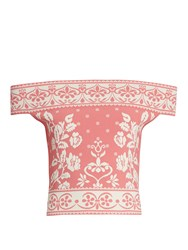 Alexander Mcqueen Floral Jacquard Off The Shoulder Knit Cropped Top Light Pink
