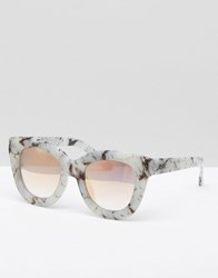 Quay Australia Exclusive Sugar And Spice Sunglasses With Rose Gold Lens Marble Pink Mirror Grey